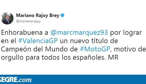 Rajoy, Reñé i Ros feliciten Màrquez