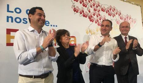 """Santamaría va participar ahir a Màlaga en un acte del PP sota el lema """"El que ens uneix, Espanya""""."""