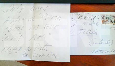 La carta anònima que va rebre l'alcalde de la Fuliola.