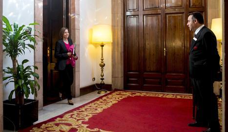 Carme Forcadell va arribar aquest dilluns al Parlament en la primera imatge des de divendres a Lleida.