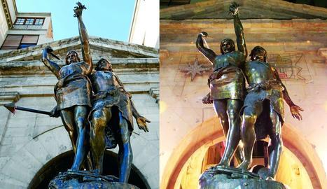 A l'esquerra, imatge d'arxiu d'Indíbil i Mandoni completa i a la dreta, el conjunt escultòric sense la llança.