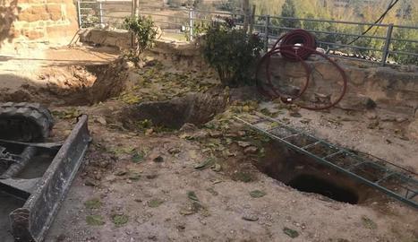 Les antigues sitges descobertes a Butsènit per les obres d'urbanització de part del centre.