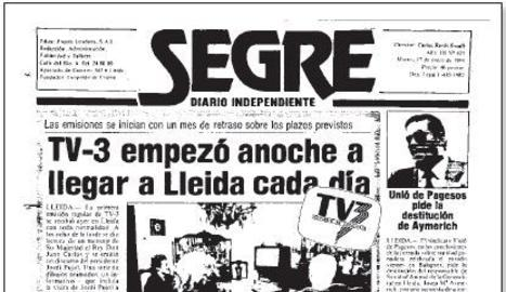 TV3 comença a emetre a Lleida