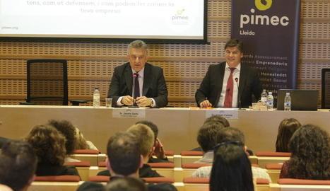 El president de Pimec a Lleida, Jaume Saltó, i Antoni Cañete, en una imatge d'arxiu.