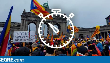 Arribada de lleidatans en massa a Brussel·les per la manifestació