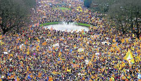Una vista de la manifestació a Brussel·les.