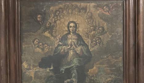 La tela a l'oli de la Puríssima Immaculada datada al segle XVIII.