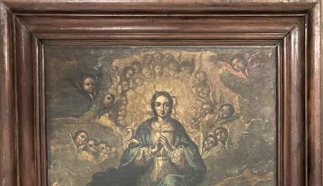 La tela de la Immaculada que ha estat des dels anys 70 a les dependències del bisbat de Lleida.