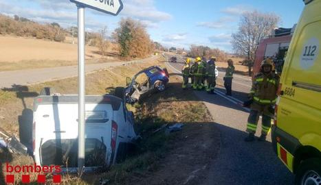 Imatge de l'accident registrat diumenge passat a Olius, a la carretera Solsona-Guissona.
