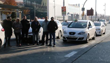 Taxistes lleidatans a la protesta del 29 de novembre.