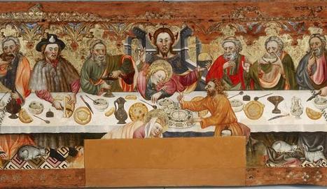 12 APÒSTOLS. Retaule del Sant Sopar atribuït a Jaume Ferrer I procedent de la parròquia de Santa Constança de Linya i exposat al Museu Diocesà de Solsona.