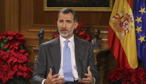 El rei Felip VI va pronunciar, com és tradició, el missatge de Nadal des del palau de La Zarzuela.