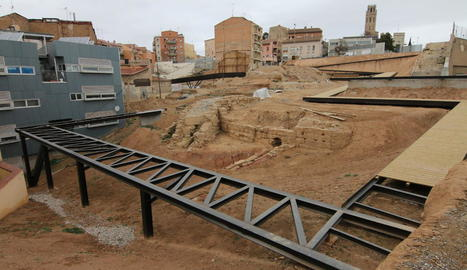 Estat en el qual es trobaven ahir les obres de la zona del barri jueu, al Barri Antic.