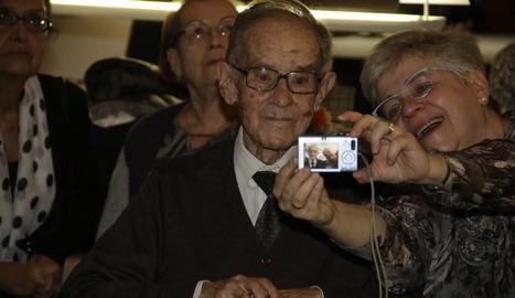 Lluís Virgili, el 29 de novembre de l'any passat, en l'homenatge que va rebre a l'Auditori de Lleida.