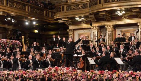 Riccardo Muti, ahir, en un moment de tradicional concert de Cap d'Any a Viena.