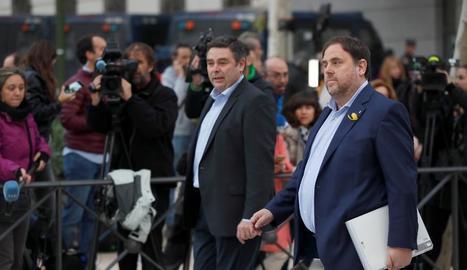 Imatge de Junqueras a l'arribar a declarar a l'Audiència Nacional el 2 de novembre.