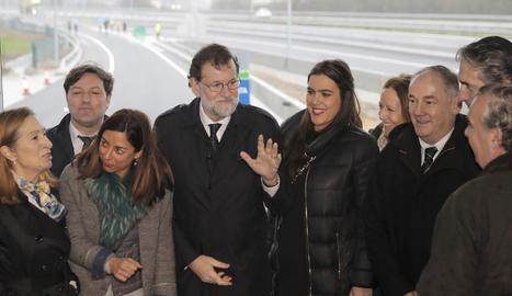 Rajoy, ahir, durant la inauguració de les obres d'ampliació de l'AP-9 a Galícia.