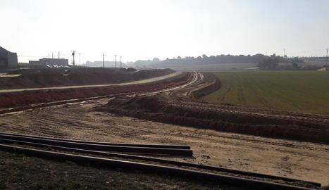 Obres de l'últim tram del canal al sector de Balaguer.
