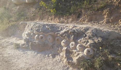 pedra i fusta. La Marta treballa blocs de pedra i de fusta. A la imatge amb una radial.