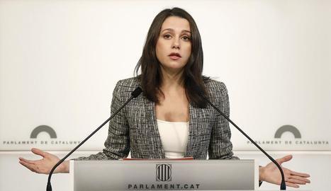 La líder de Ciutadans, Inés Arrimadas, ahir, al Parlament.