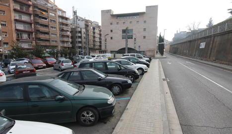 Imatge de l'actual pàrquing de la plaça de l'Auditori.