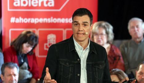 Pedro Sánchez, ahir, durant un acte de partit a Madrid.