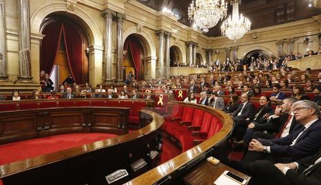 Una vista de l'hemicicle del Parlament aquest dimecres.