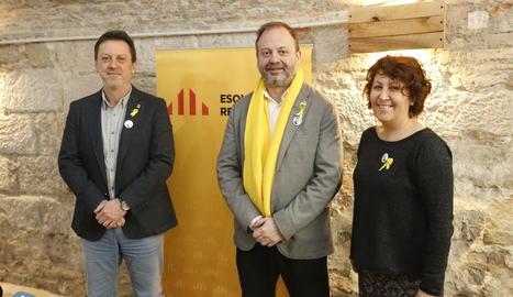 Els regidors d'ERC, ahir en un esmorzar amb els mitjans.