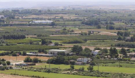 Vista aèria d'una partida de l'Horta de Lleida.