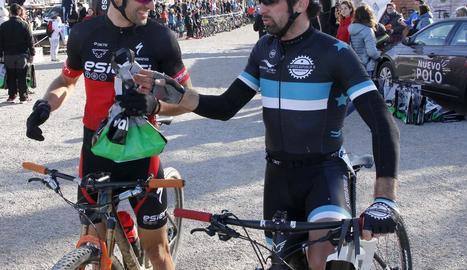El doble medallista olímpic Sergi Escobar moments després de completar la prova.