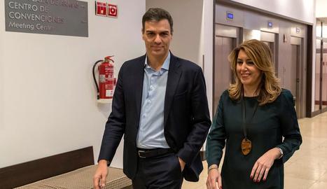Pedro Sánchez i Susana Díaz, ahir a Sevilla.