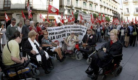 Imatge d'arxiu d'una protesta per la llei de Dependència.