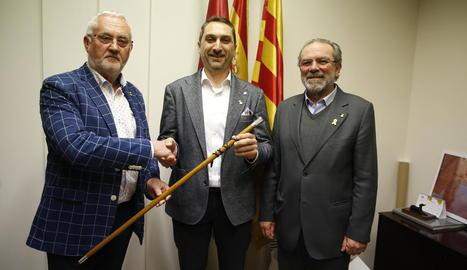 Branzuela, Miró i Reñé, ahir a Torres de Segre abans del ple.