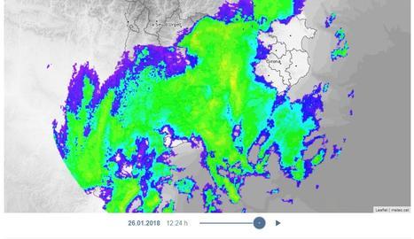 El radar de precipitació del Servei Meteorològic de Catalunya al migdia.