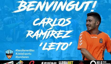 El cartell del Lleida donant la benvinguda al nou jugador.