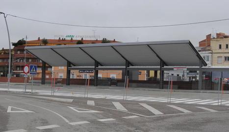 La nova estació d'autobusos de Mollerussa, encara en construcció.