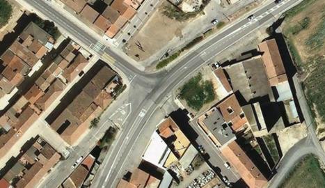 Vista de l'encreuament de l'N-II a Alcarràs.