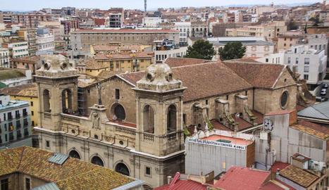 La teulada de la Catedral pateix un gran deteriorament pels nius i excrements de cigonyes.