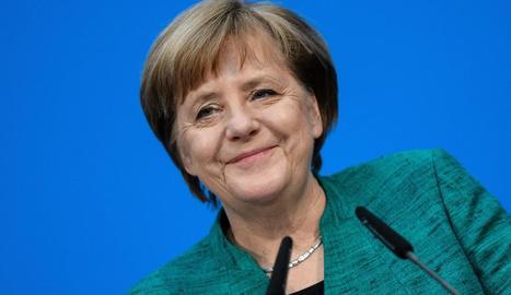 Angela Merkel, a la roda de premsa després de les negociacions.