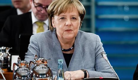 Angela Merkel, en una reunió amb líders estatals a Berlín.