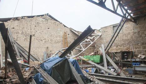 Imatge de l'estat de la teulada quan es va esfondrar l'any passat.