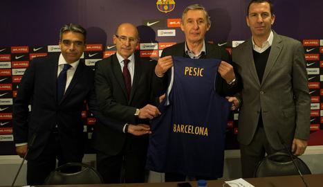 Pesic, en la presentació com a nou tècnic del Barça.