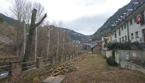 El carrer de la Farga de Llavorsí on es fa la poda.