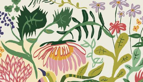 obres. Les dones de 'Good Energy', un detall de la sèrie 'Rutinas de un Perro', l'estampat floral 'Foret Fandango' i un indígena amb retolador i grafit.