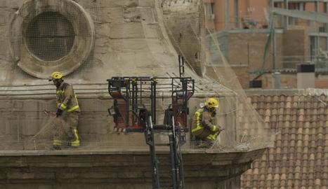 Els bombers van haver de tallar la xarxa antinius per alliberar unes altres quatre cigonyes atrapades.