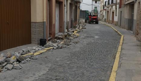 Els treballs al carrer Carnisseria, al centre de la capital.