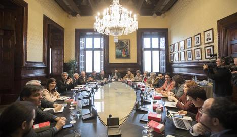 Reunió de la Junta de Portaveus celebrada al Parlament de Catalunya.