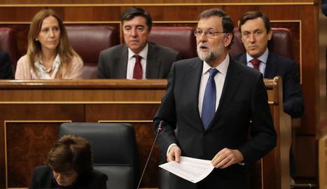El president del Govern, Mariano Rajoy, ahir, al Congrés.