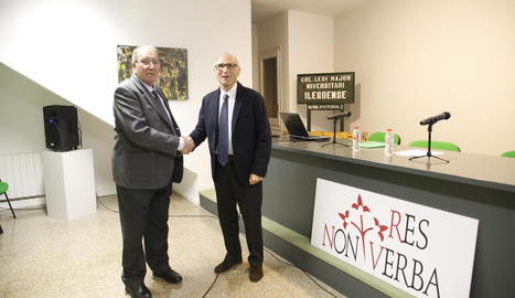 Jaume Pastor i Josep Castellà, a l'assemblea de Res Non Verba.
