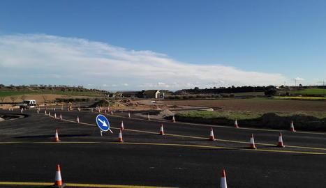 L'enllaç de la nova ronda amb la carretera C-12 d'Àger.